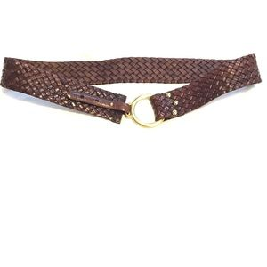Brown Braided Leather Belt with Brass Hardware